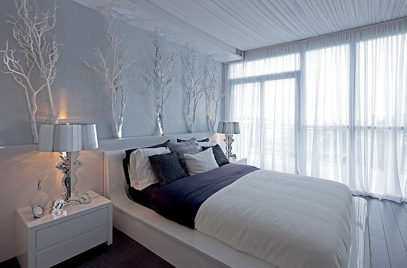 Stunning contemporary bedroom in wintery whites