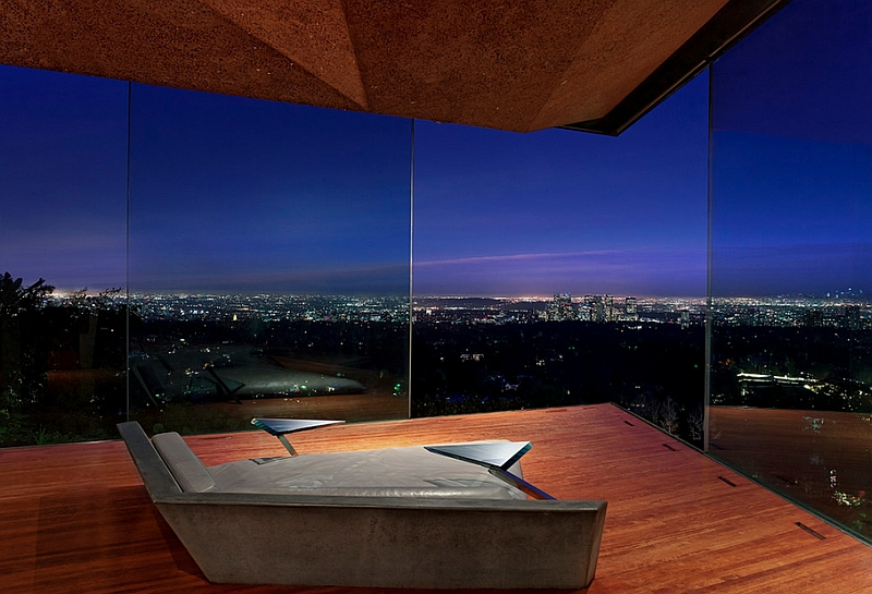 Stunning minimalist bedroom with amazing views of Los Angeles City Skyline