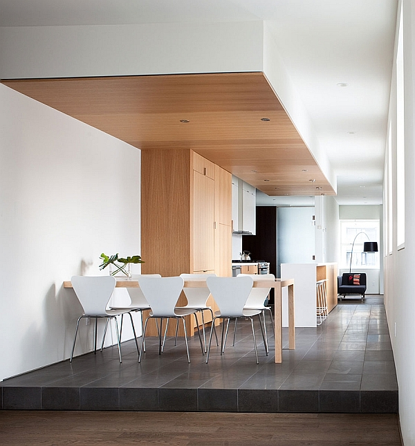 Bright and beautiful urban renovation unites two for Dining room renovation