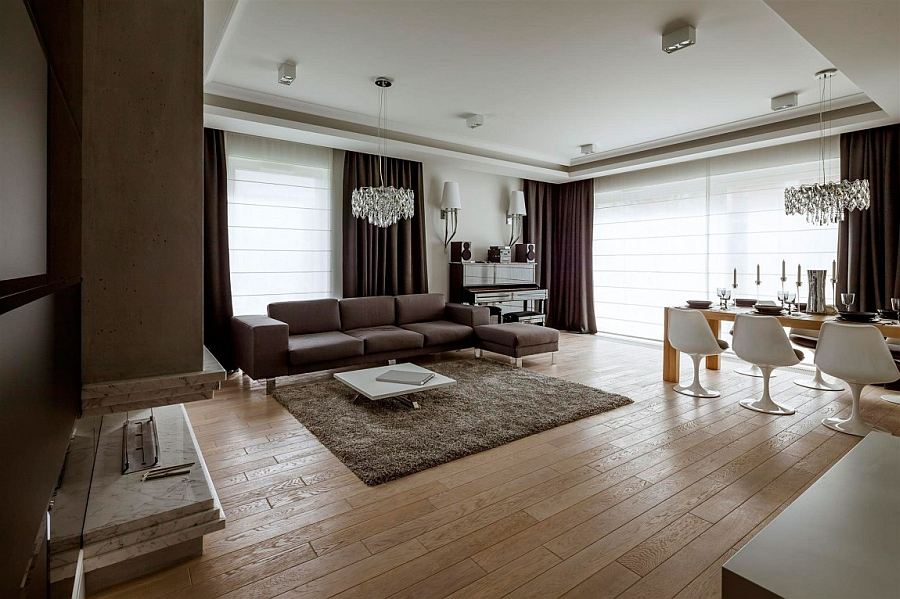 Stylish Duplex Apartment in Warsaw Poland Exclusive Penthouse Showcases A Timeless Interior Draped In Luxury!