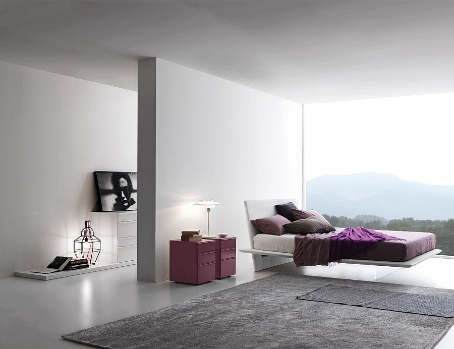Stylish bed looks like it is floating in air thanks to the meth-acrylate basement