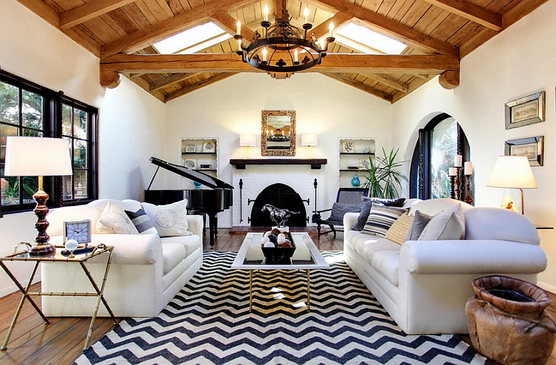 Stylish chevron rug in the living room