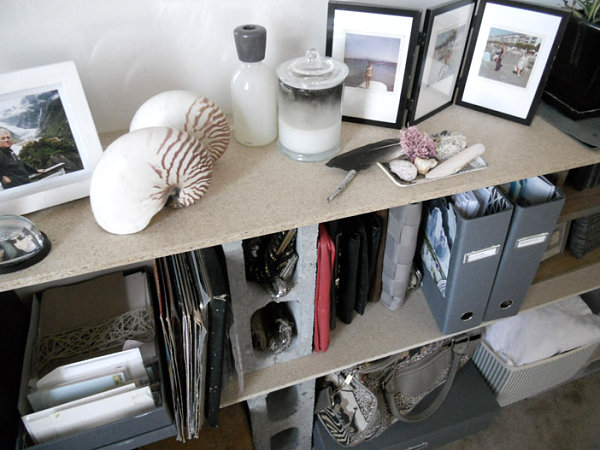 Stylish cinder block shelving