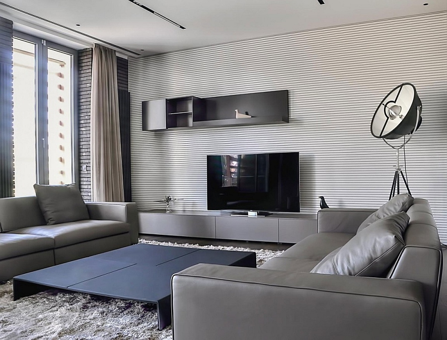 Stylish coffee table and a plush rug anchor the space Expansive Belgrade Duplex Penthouse Sizzles With Sophistication
