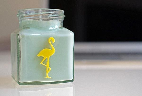 Stylish flamingo candle