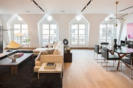 Stylish living room of the Tribeca Penthouse, NYC