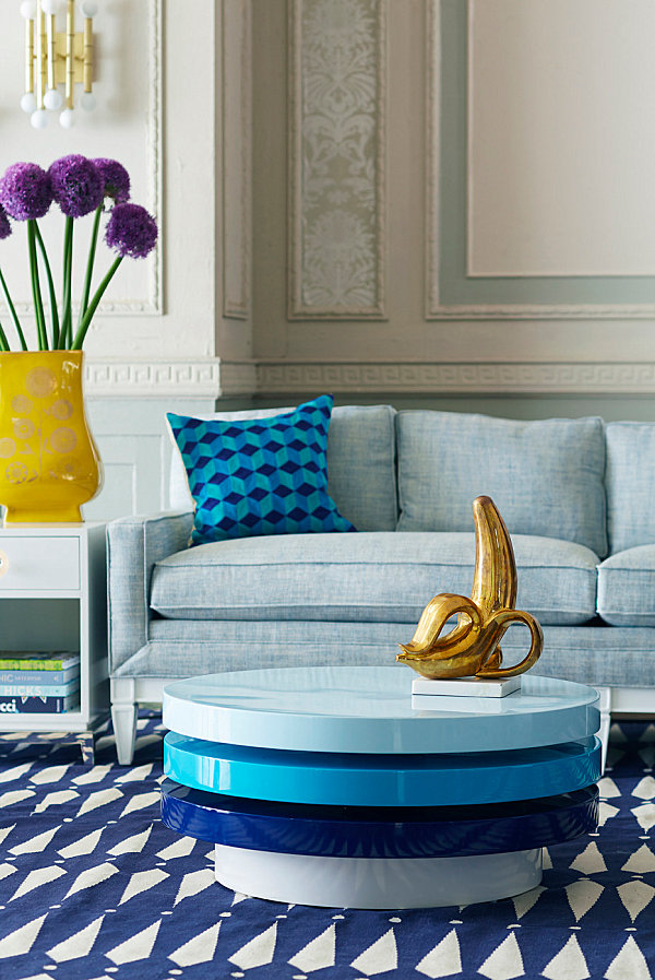 Swiveling blue coffee table from Jonathan Adler