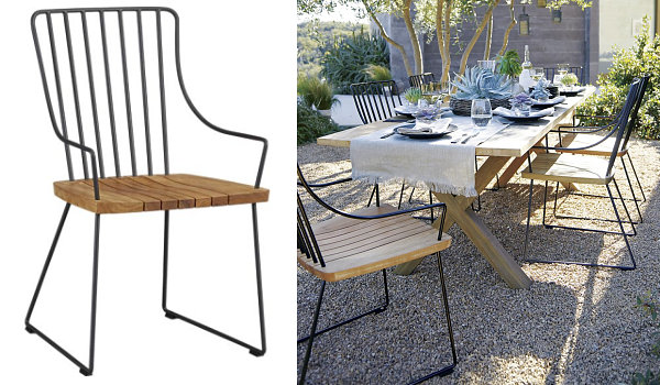 Teak and metal chairs