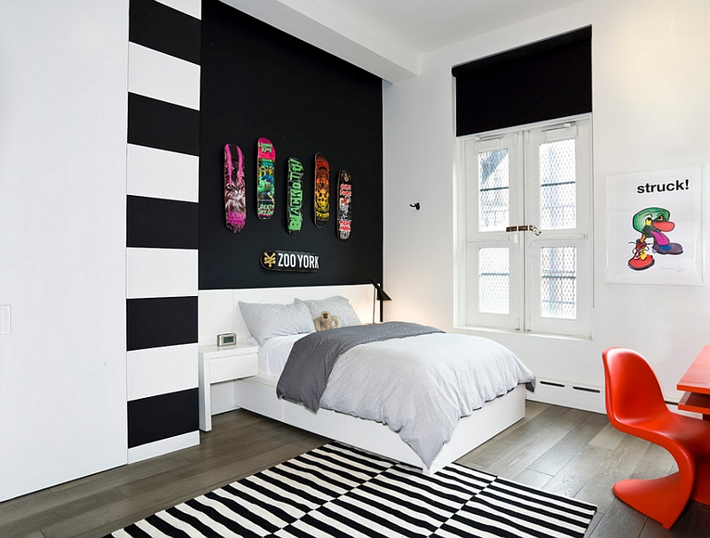 View in gallery Teen bedroom in black and white with Panton Chair in Orange. Bold Black And White Bedrooms With Bright Pops of Color