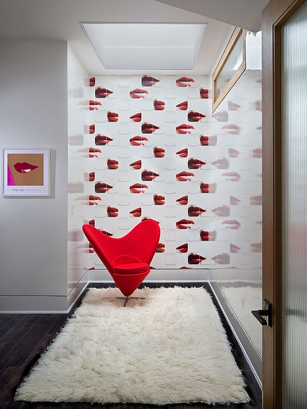 The heart Cone Chair along with wallpaper recalling Andy Warhol's Marilyn series