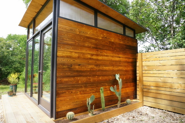 The siding's weathered look was created with the help of a blow torch