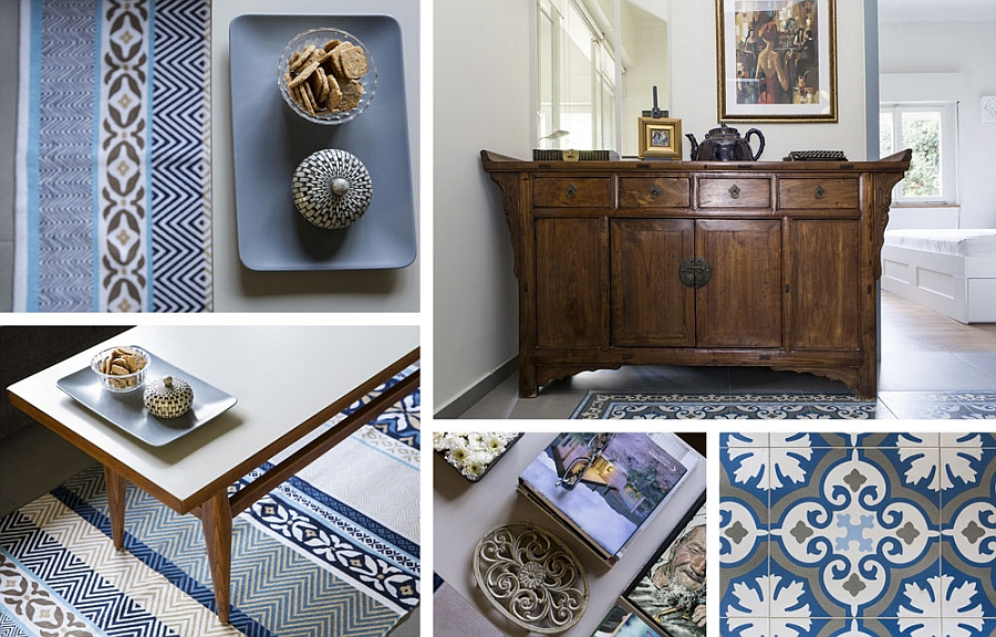 Tiles, rugs and accessories in grey, white and blue