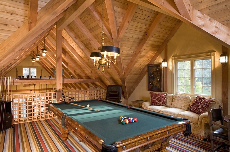 Traditional attic game room idea