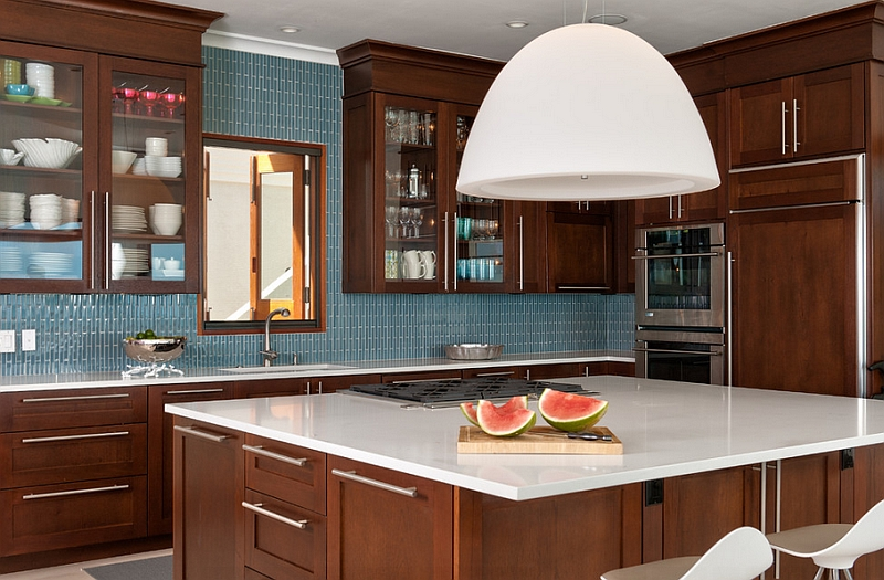 Tropical kitchen with a cool blue backsplash