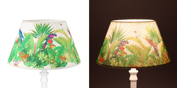 Tropical lampshades with a parrot motif
