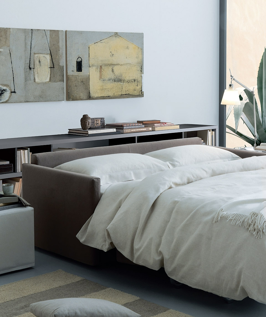 Turn the sleeper sofa into a cozy bed at night