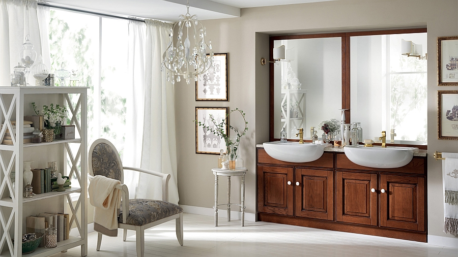 Twin washbasins in the bathroom stand out visually