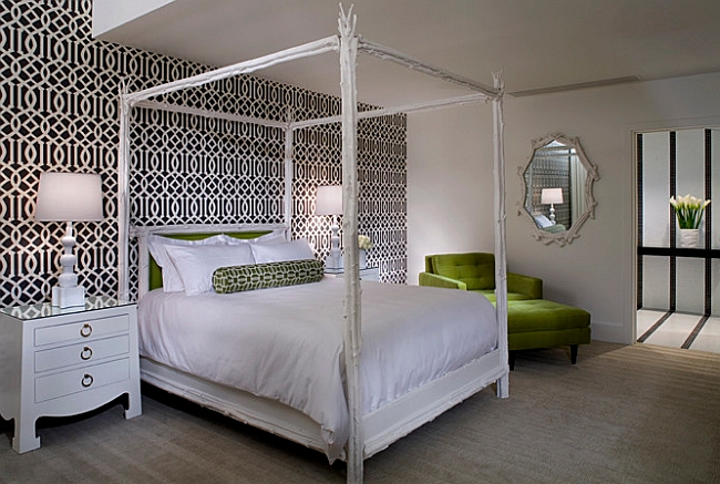 understated green accents for the black and white bedroom