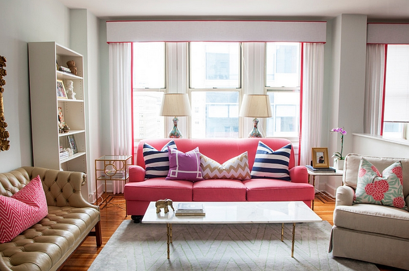 Use the sofa to add color to the room