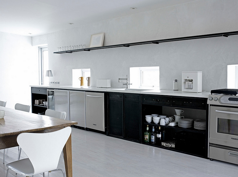 Use the sophisticated table lamp in contemporary kitchen
