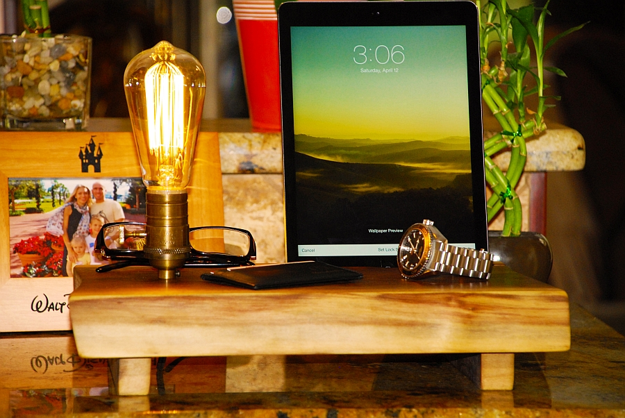 Use the stylish wooden docking station at the entryway