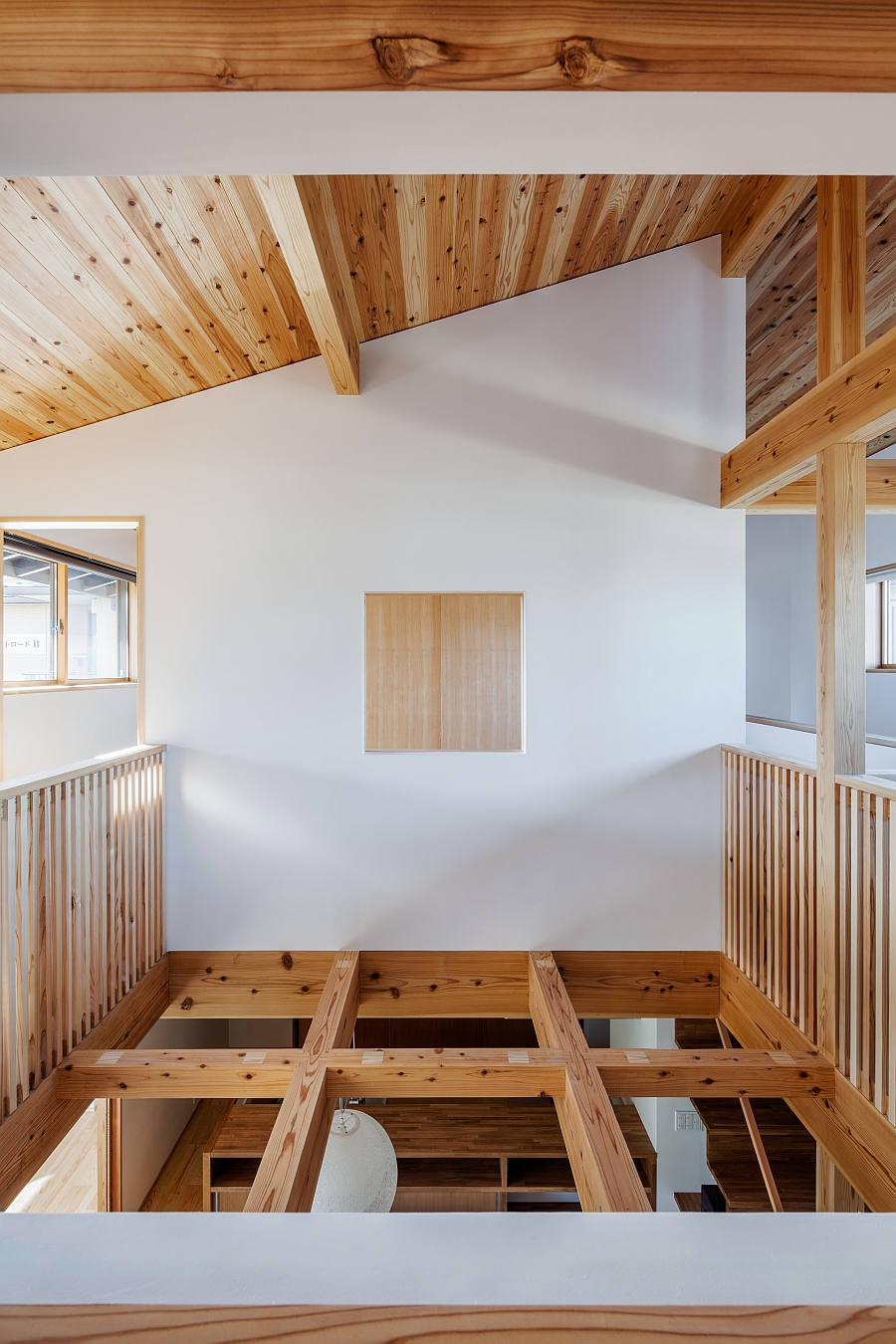 Ventilation to the second floor comes from the wooden grid below