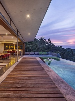 View of the tranquil susnet above the sea at the Naked House in Thailand