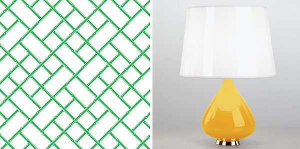 Wallpaper and lamp from Jonathan Adler