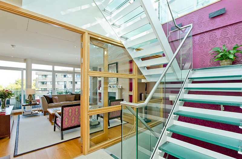 Wallpaper in purple adds glamour to this contemporary London home Enthralling Glass Staircases That Add Sculptural Style To Your Home