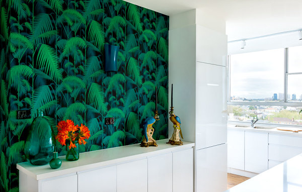 Wallpapered wall in a bright apartment