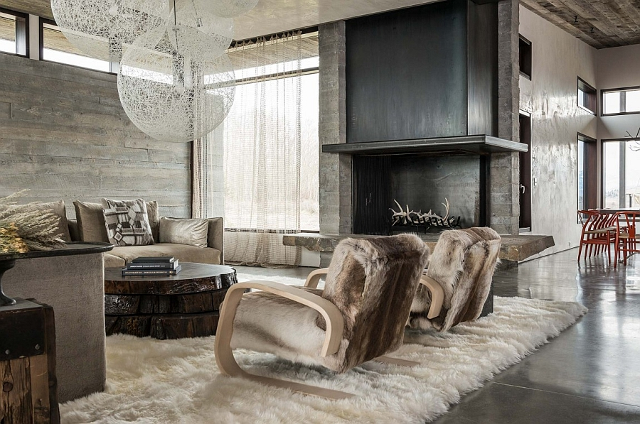 Warm fabric and textures in the living room of Jackson Hole Home