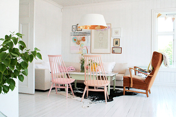 White room with pastel hues
