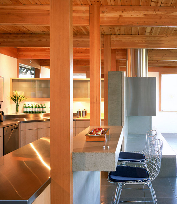 White walls, warm wood and stainless steel in a San Francisco kitchen