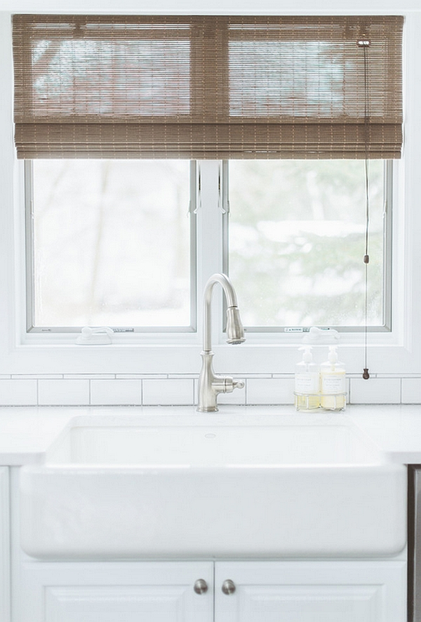 Window shades that seem to complement the woodsy look of the house