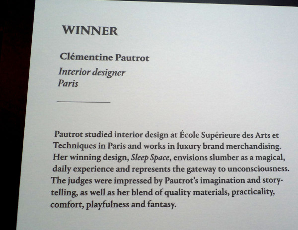 Winner Clementine Pautrot - Sofitel and Wallpaper magazine MyBed design competition