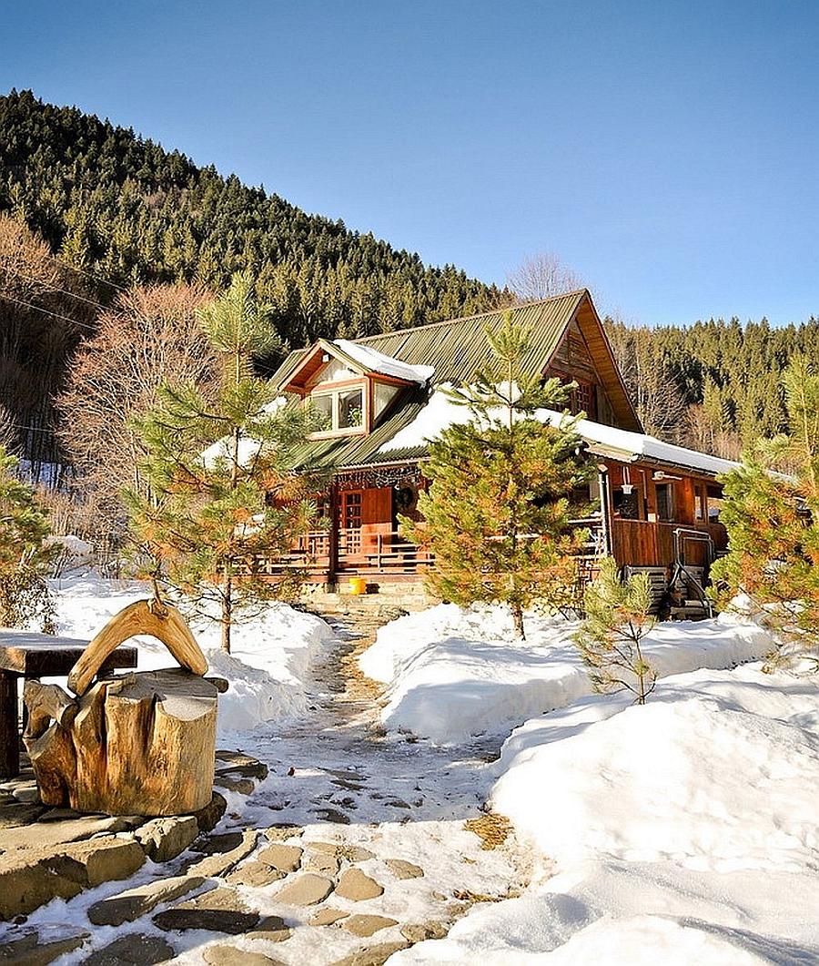 Winter at the beautiful Romanian House Near Piatra Neamt