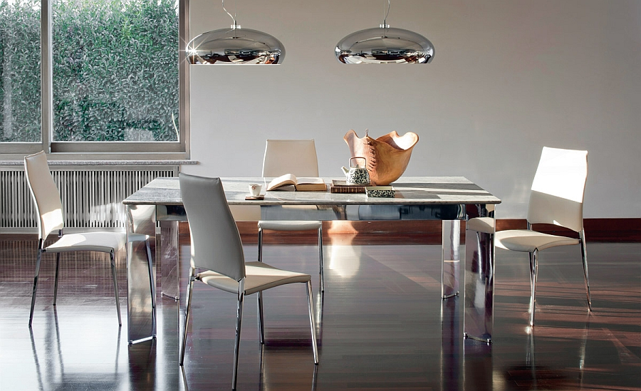 Wonderful sqaure dining table also doubles as a spacious work table