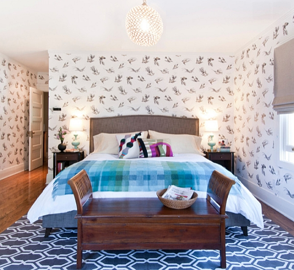Wonderful use of varied pattern in the bedroom