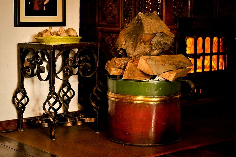 Wood tile stove keeps the place warm during chilly witers