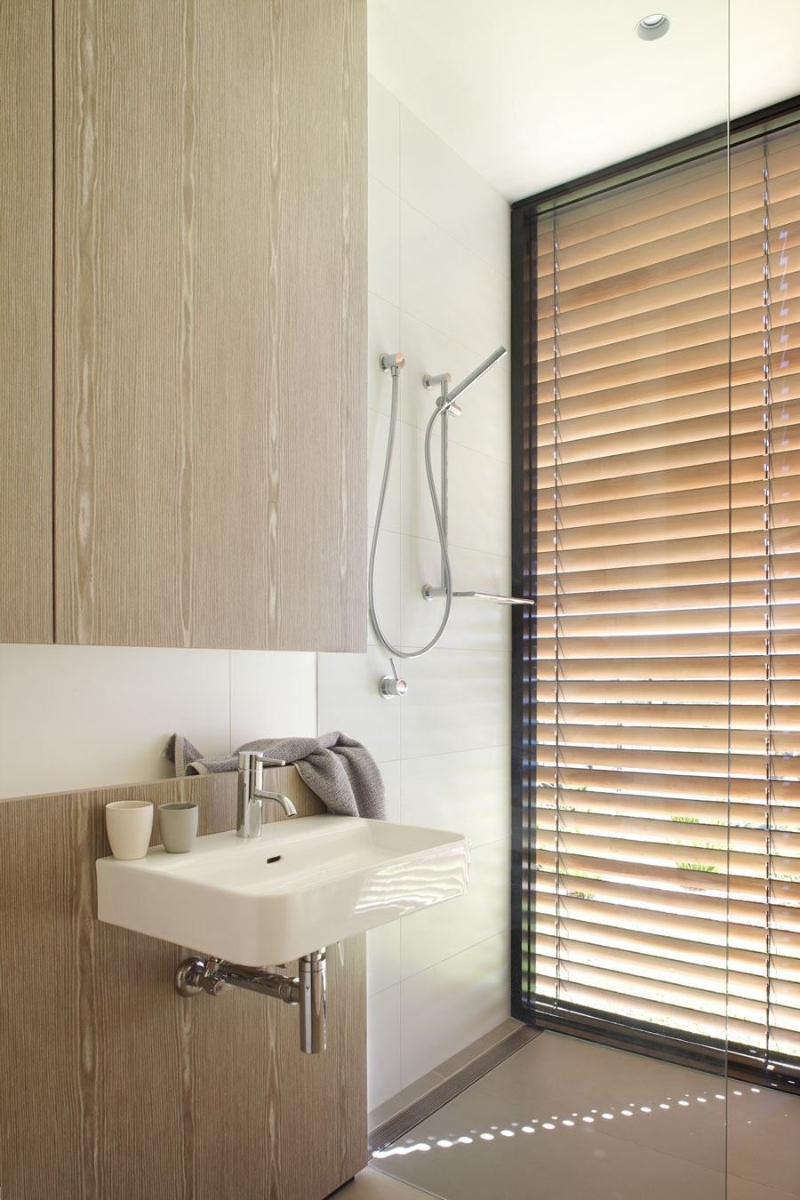 Wooden blinds offer ample shade