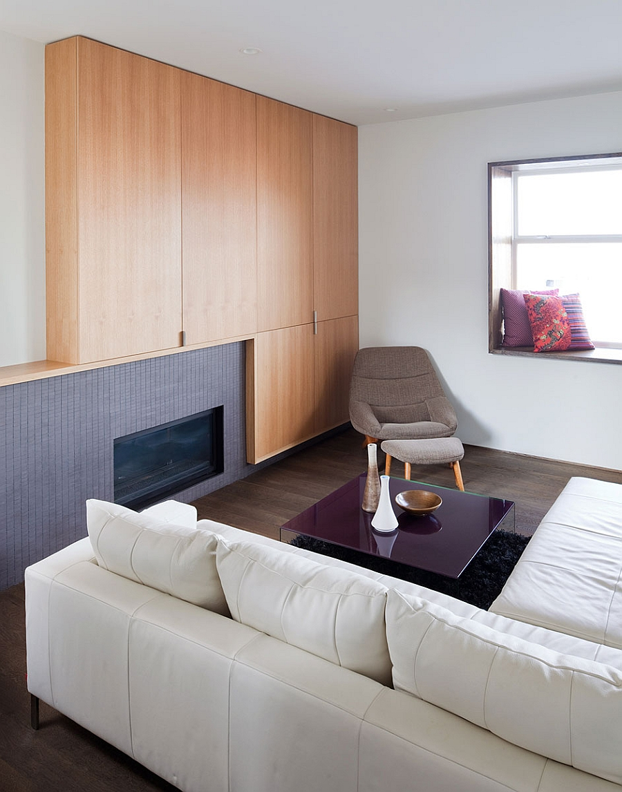 Wooden wall in the plush living space