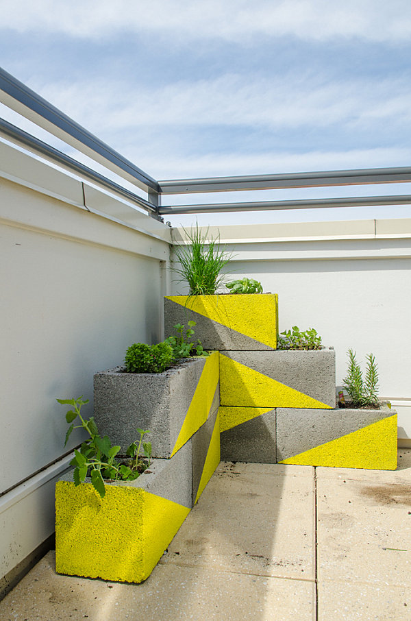 Yellow cinder block planter