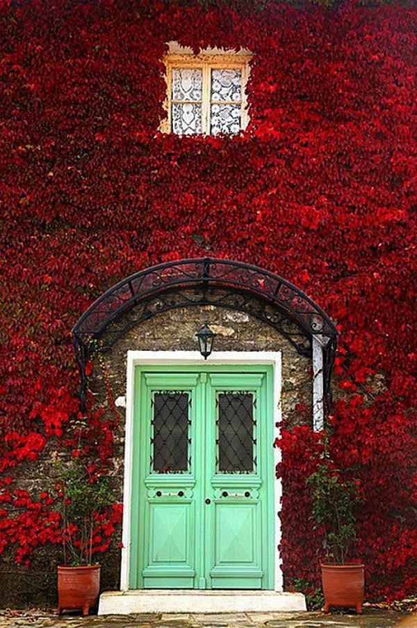 aqua green front door