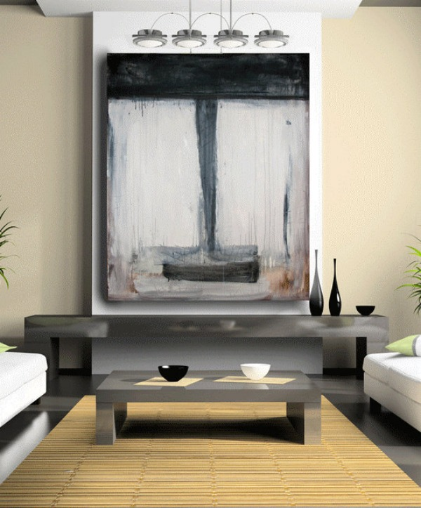 black monochromatic painting Pump Up Your Walls With Abstract Art
