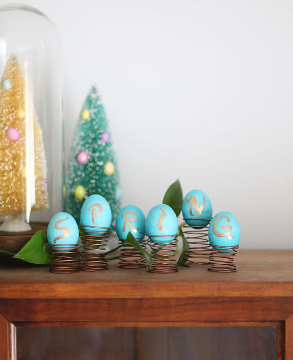 blue easter eggs display