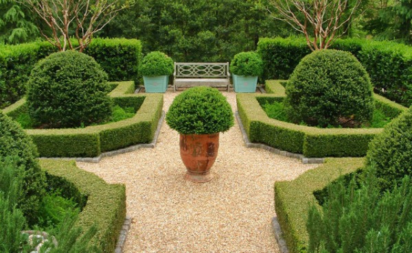 boxwood and pebble landscape