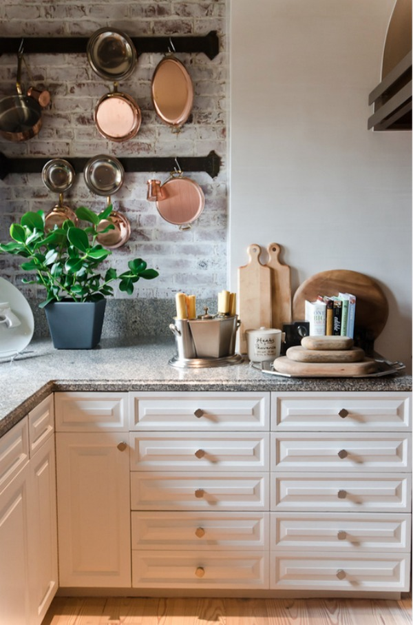grey white washed brick backsplash