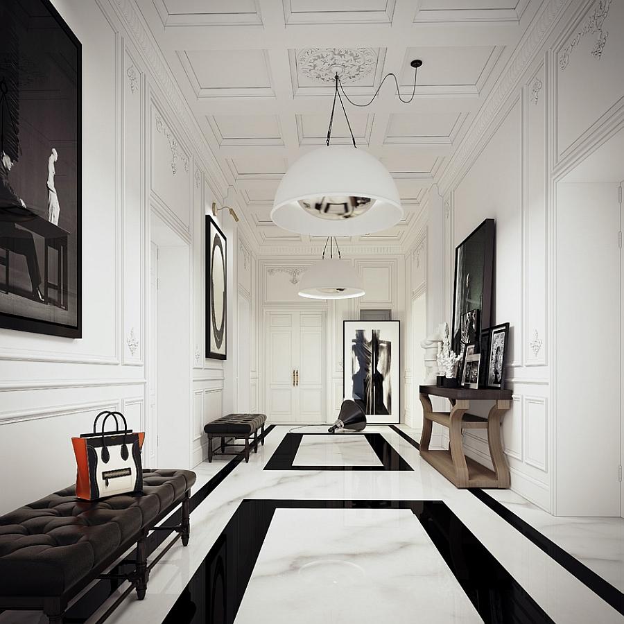 large pendant lights illuminate the gorgeous hallway