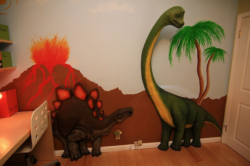 View In Gallery 3D Dinosaur Wall Art Brings Back The Jurassic Your Kids Bedroom
