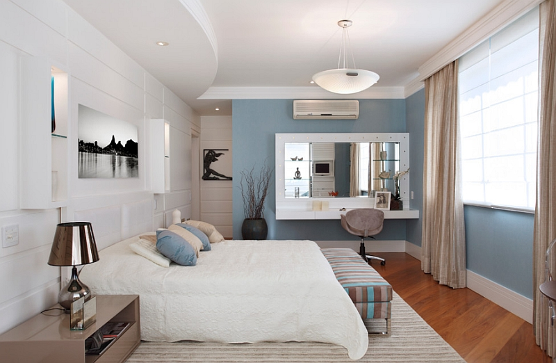 Modern White And Blue Bedroom blue and white interiors: living rooms, kitchens, bedrooms and more